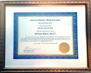 Miriams reiki diploma
