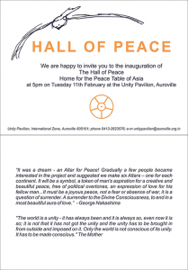 Invitation to the Hall of Peace